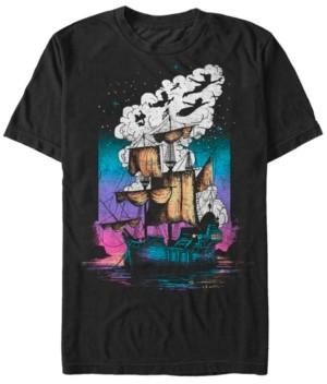 Disney Men's Peter Pan Pirate Ship Flight Neon, Short Sleeve T-Shirt