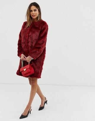 Liquorish faux fur longline coat