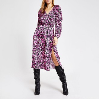 River Island Pink floral long sleeve wrap midi dress