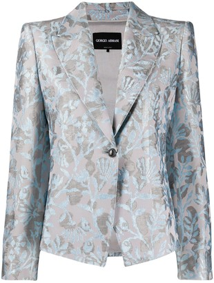 Giorgio Armani Floral Print Single-Breasted Blazer