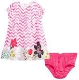 Catimini Zig Zag and Floral Dress with Pink Knickers