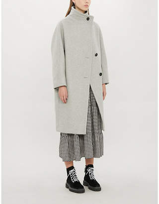 Maje Gael loose-fit high-neck wool-blend coat