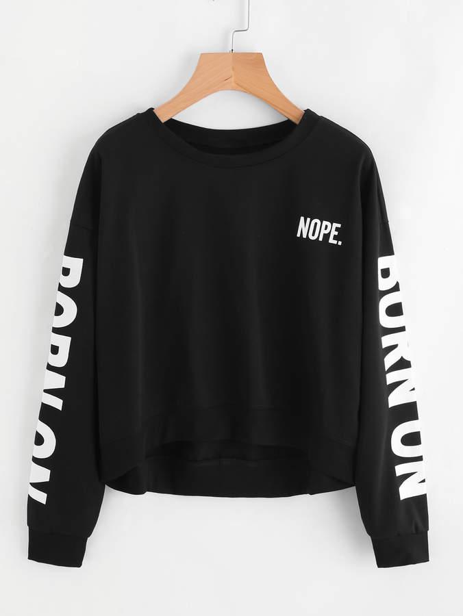 Shein Letter Print Sweatshirt