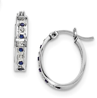 Curata Sterling Silver Diamond and Sapphire Oval Hinged Hoop Earrings