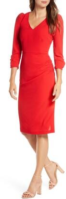 Eliza J V-Neck Ruched Sheath Dress