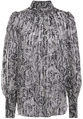 Zimmermann Gathered Printed Silk-crepon Blouse