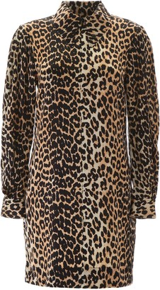 Ganni LEOPARD MINI DRESS 34 Beige, Black Silk