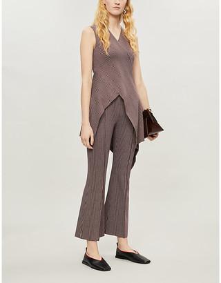 Rosetta Getty Houndstooth-print sleeveless woven top