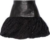 Saint Laurent Leather, Taffeta And Sequin-embellished Tulle Mini Skirt - Black