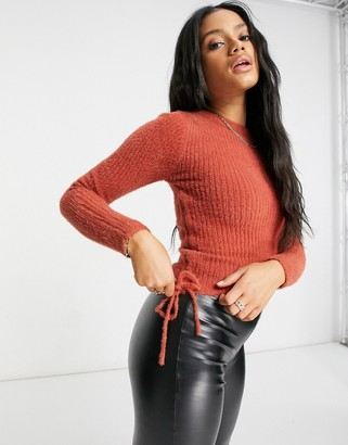 Parallel Lines knit jumper with ruched sides in rust