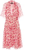Paule Ka Leopard Print Cotton Silk Blend Short Sleeve Dress