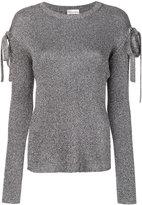 RED Valentino lurex bow sleeve sweater - women - Viscose/Metallic Fibre - XS