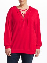 Slink Jeans, Plus Size Lace-Up Cotton Hoodie