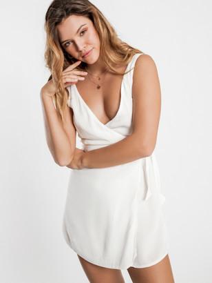 Amuse Society Jet Lag Woven Wrap Dress in White