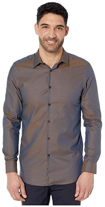 Perry Ellis Slim Fit Dobby Solid Resist Spill Shirt (Blue Tile) Men's Clothing