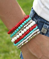 Funky Monkey Women's Bracelets Red/Turquoise - Blue & Red Wooden Bead Stretch Bracelet