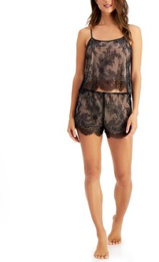 INC International Concepts Inc Lace Cami & Tap Shorts Pajamas Set, Created for Macy's