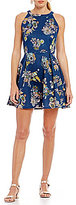 Copper Key Paisley Floral Printed Sleeveless Fit-and-Flare Dress