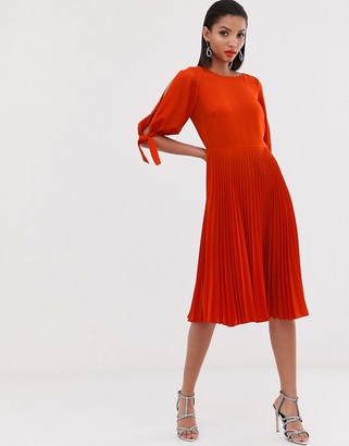 Closet London pleated midi dress with tie detail sleeve in orange