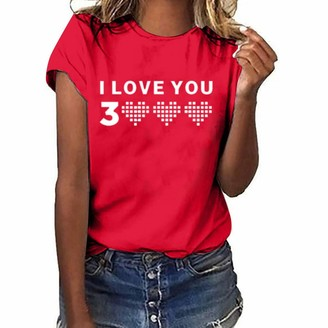 LOPILY I Love You Fashion Blouse Women Tops Loves You Three Thousand Times Letter Printed Shirts Simple T-Shirt Red