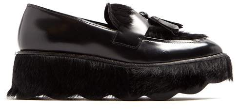 Prada Tassel Embellished Leather Flatform Loafers - Womens - Black