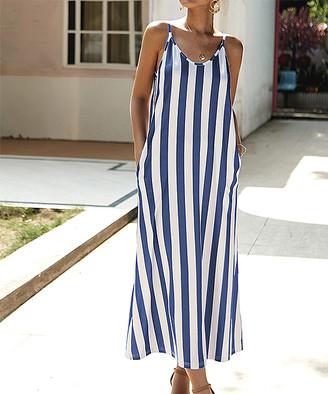 Romantichut Women's Maxi Dresses blue - Blue & White Stripe Side-Pocket Maxi Dress - Women