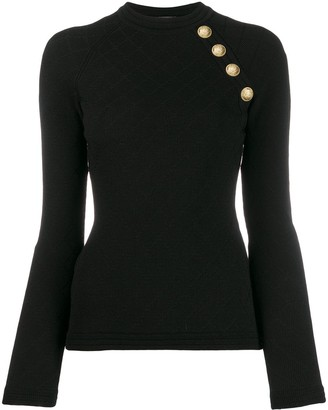 Balmain quilted effect knitted top