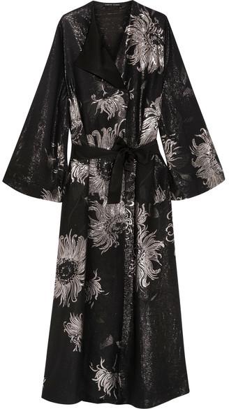 Carine Gilson Metallic Silk-blend Jacquard Robe - Black