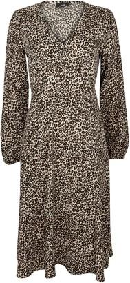 Wallis Brown Animal Print Puff Sleeve Midi Dress
