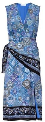 Altuzarra Sade Paisley-print Silk Wrap Dress - Womens - Blue Print