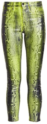 L'Agence Margot Low-Rise Snake Print Skinny Jean