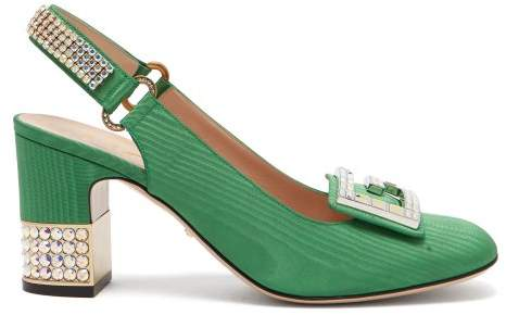 Gucci Madelyn Crystal Embellished Moire Slingback Pumps - Womens - Green