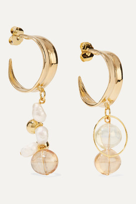 Mounser Cirrus Gold-plated, Pearl And Glass Earrings - one size