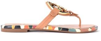 Tory Burch Miller Enamel Sandal In Mosaic Print Leather