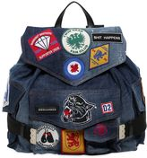 DSQUARED2 Military Glam Patches Denim Backpack