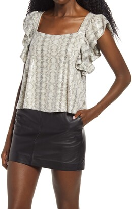 Endless Rose Snake Print Sequin Top