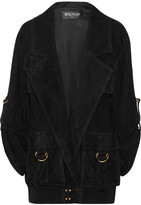 Balmain Oversized Suede Jacket - Black