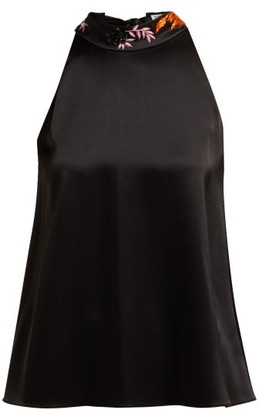 Osman Embellished Halterneck Satin Blouse - Black Multi