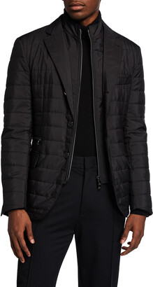 Corneliani Men's Quilted Travel Blazer w/ Zip-Front Bib