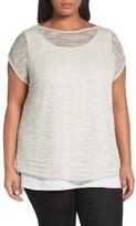 Lafayette 148 New York Plus Size Women's Bateau Neck Sweater With Tank