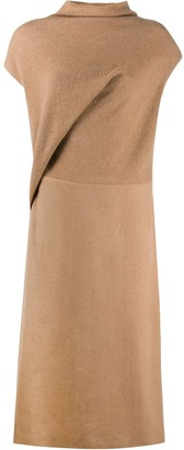 Agnona Contrast-Panel Cowl Neck Midi Dress