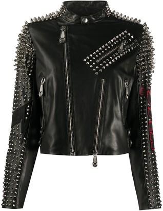 Philipp Plein KISS-print spike-stud biker jacket