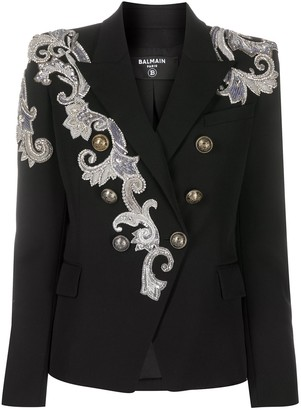 Balmain Lace-Detailing Double-Breasted Blazer