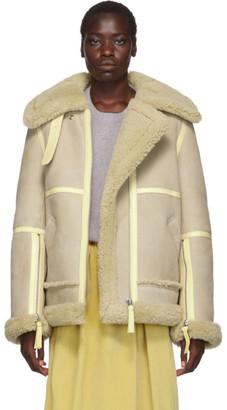 Acne Studios Beige Long Shearling Jacket