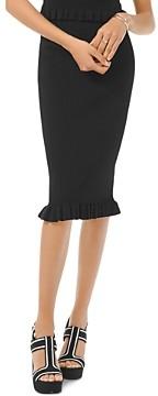 MICHAEL Michael Kors Midi Ribbed Ruffle Hem Skirt