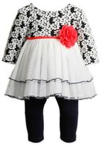 Sweet Heart Rose Size 24M 2-Piece Tiered Mesh Skirt with Leggings in Navy