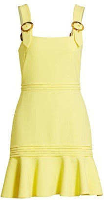 Jonathan Simkhai Clara Crepe Mini Apron Flare Dress