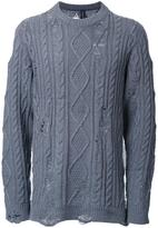 Miharayasuhiro distressed cable knit jumper - men - Acrylic/Wool - 50