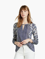 Lucky Brand Placed Floral Keyhole Top
