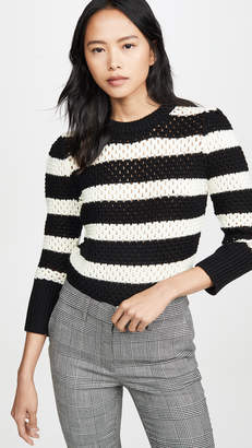 Frame Striped Open Knit Crew